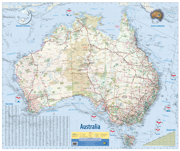 Australia Wall Map Flat Meridian Laminated Australia Day Special